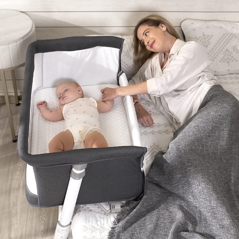 Bedside Bassinet with Wheels, C-Shaped Adjustable Portable Bassinet for Baby Infant Newborn Boys Girls
