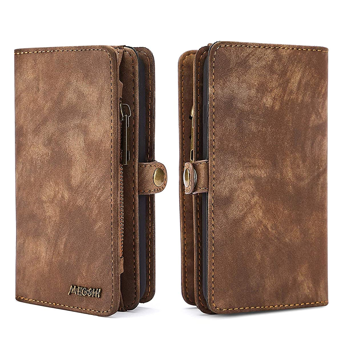 Spritech iPhone 7 Plus Wallet Case,Handmade Leather Large Capacity Detachable [Scratch Resistant] Zipper Wallet Cover with Credit Card Holder for iPhone 7 Plus/iPhone 8 Plus