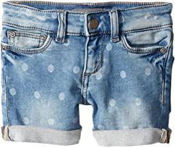 Piper Mid Wash Polk Dot Knit Denim Cuffed Shorts in Bluebird (Toddler/Little Kids/Big Kids)