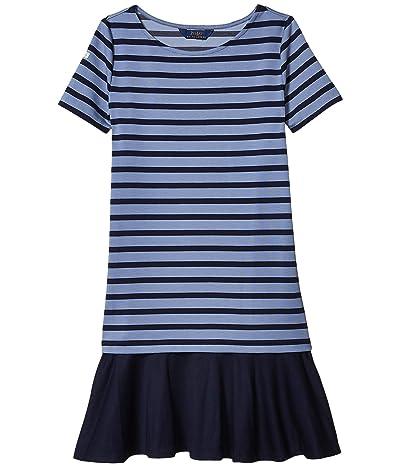 Polo Ralph Lauren Kids Striped Stretch Ponte Dress (Little Kids/Big Kids) (Hunter Navy/Capri Blue) Girl