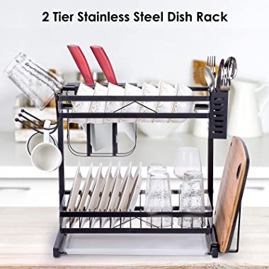 Sunny Living Dish Drying Rack Stainless Steel for Kitchen Counter, 2 Tier Large Dish Rack with Drainboard, Anti Rust Utensil