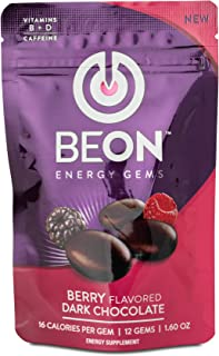 BeON Energy-Boosting Berry Flavored Dark Chocolate. 144 Chocolate Gems with Caffeine, L-Theanine, Vitamins D, B6, and B12,...