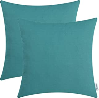 Pack of 2 CaliTime Throw Pillow Covers Cases for Couch Sofa Bed Solid Dyed Soft Cotton Canvas 18 X 18 Inches Teal