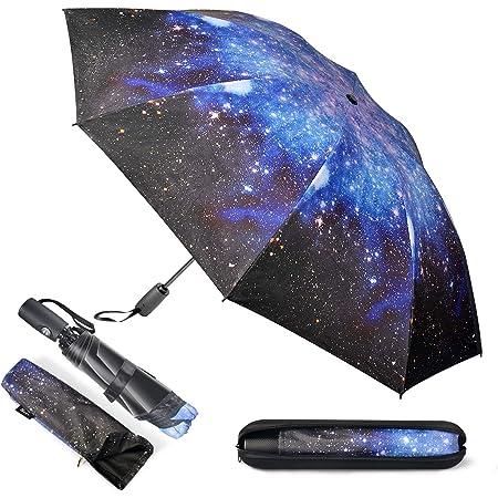 Paraguas Plegable con Bolsa para Paraguas y Estuche de Viaje - Apertura-Cierre automático Paragua,Prevenir los rayos UV Revestimiento de teflón,Resistente al Viento, Prueba de tormentas hasta 140 km/h