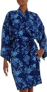 NOVICA Blue Batik Rayon Robe, Gorgeous In Cyan'