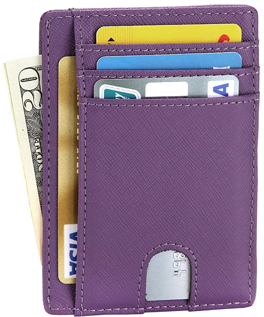 EKCIRXT Slim RFID Blocking Credit Card Holder Minimalist Leather Front Pocket Wallet for Women & Men fwto0707685441