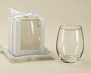 Kate Aspen Silver Shimmer Display/Gift/Favor Box, Wedding/Party Decoration, can Hold9 oz. Stemless WineGlasses(Set of 12)