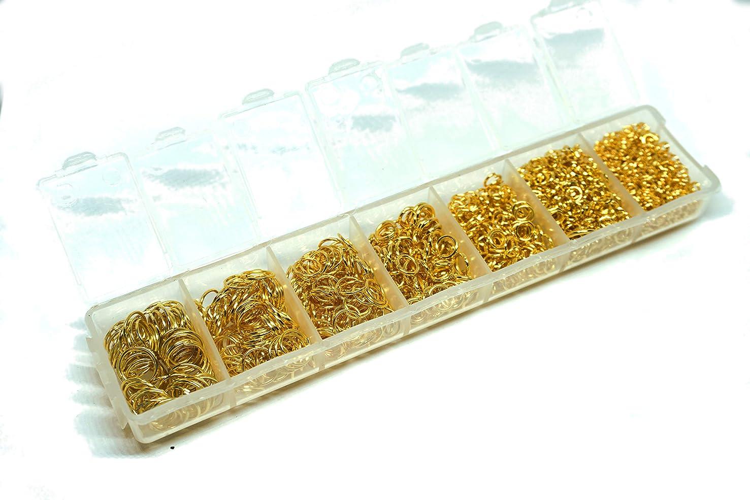 HDSupplies 1760pcs Gold Tone Open Jump Rings Assorted Sizes 3mm 4mm 5mm 6mm 7mm 8mm 9mm