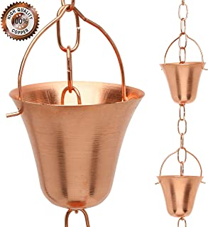 Marrgon Copper Rain Chain – Decorative Chimes & Cups Replace Gutter Downspout & Divert Water Away from Home for Stunning Fountain Display – 8.5' Long for Universal Fit – Bell Style