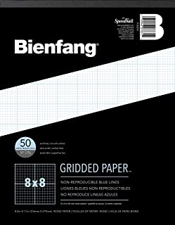 Bienfang Designer Grid Paper, 50 Sheets, 8-1/2-Inch by 11-Inch Pad, 8 by 8 Cross Section
