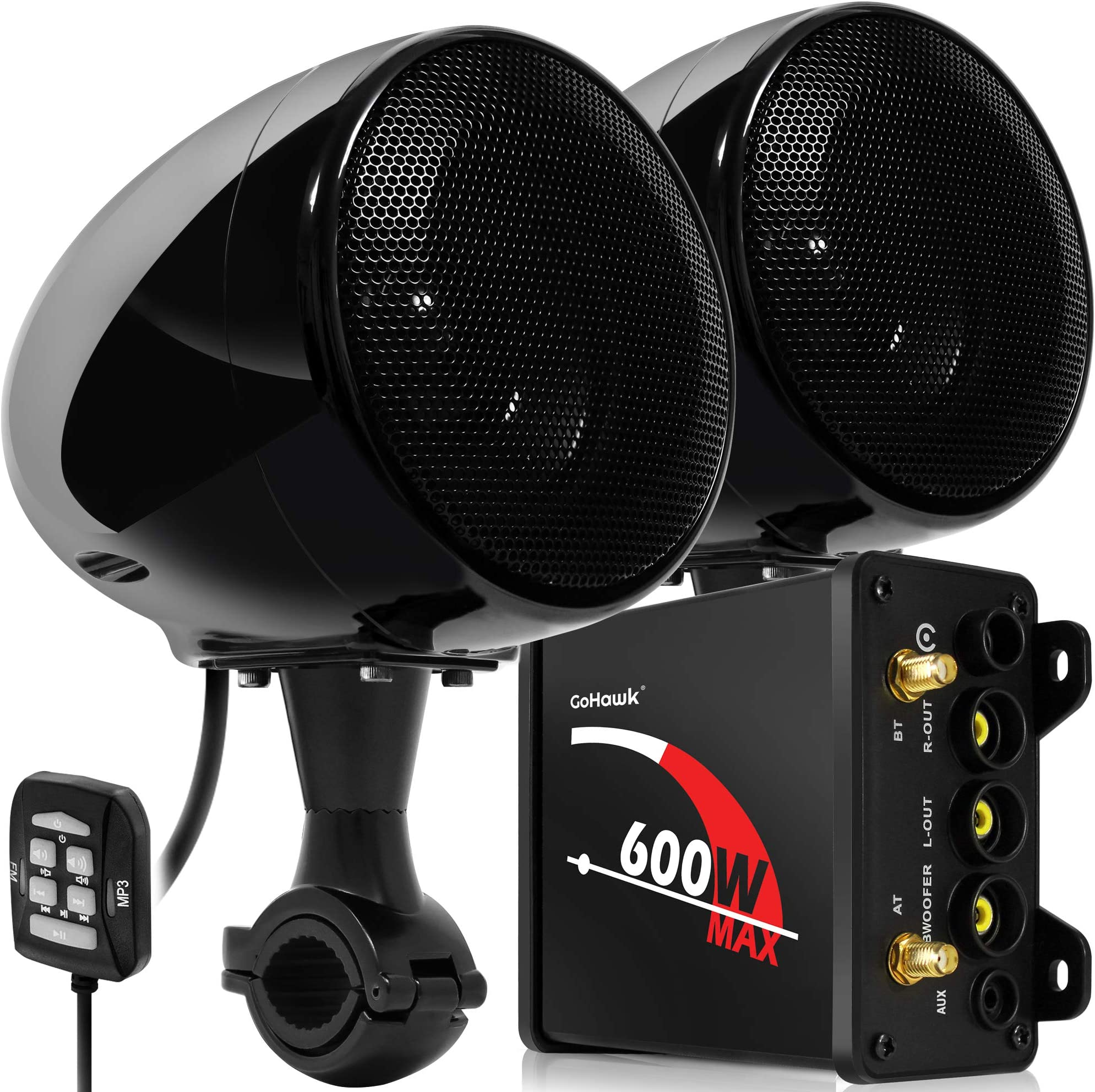 "GoHawk TN4 2.1 Channel Amplifier 4"" Full Range Waterproof Bluetooth Motorcycle Stereo Speakers Audio System AUX FM Radio for 1 to 1.25 in. Handlebar Harley Yamaha Can-Am ATV UTV RZR Polaris"
