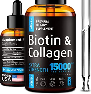Premium Biotin & Collagen Hair Growth Drops - Potent US Made Hair Growth Product - Healthy Skin & Nails - L...