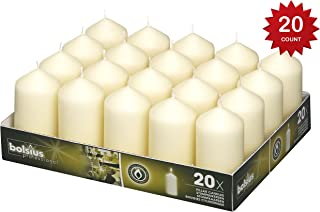 BOLSIUS Tray of 20 Ivory Wedding Party Pillar Candles 98X48mm. Aprox. 2X4 Inches