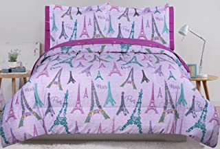 HowPlum Full Paris Comforter and Sheet Purple Eiffel Tower Floral Bed in a Bag Set