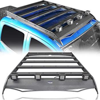 Hooke Road Tacoma Top Roof Rack Luggage Cargo Carrier w/4x18W LED Lights for 2nd 3rd Gen Tacoma 2005-2021 4-Door Double Cab Pickup Truck