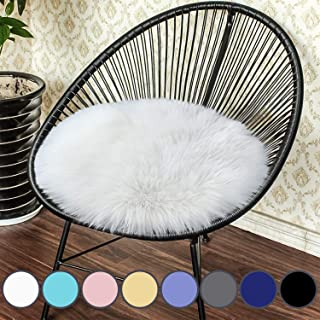 Junovo Premium Soft Round Faux Fur Sheepskin Seat Cushion Chair Cover Plush Area Rugs for Bedroom, 14 x 14inch, White