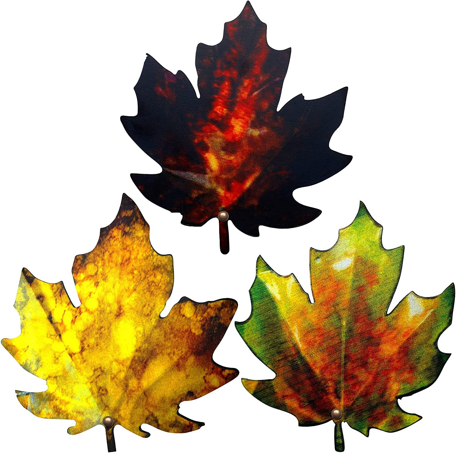 3 Pieces Maple Leaves Metal Wall Decor 5.9 Inch Thanksgiving 3D Leaves Iron Wall Art Rustic Metal Leaves Fall Decor Autumn Metal Sign Hanging Decor for Outdoor Indoor Kitchen Living Room Bedroom