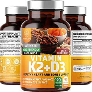 N1N Premium Vitamin D3 5000IU with K2 (MK7), [Max Absorption with BioPerine] All Natural Supplement to Strengthen Bones, T...