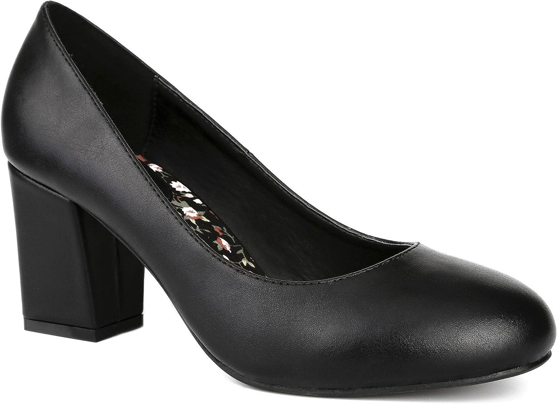 MaxMuXun Women shoes Slip On Block Heel Dress Chunky Pumps