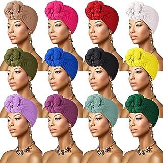 12 قطعة من أغطية الرأس الإفريقية العمامة المطاطية للنساء، وشاح شعر ناعم وشعر طويل وربطة للرأس للنساء، 12 لونًا