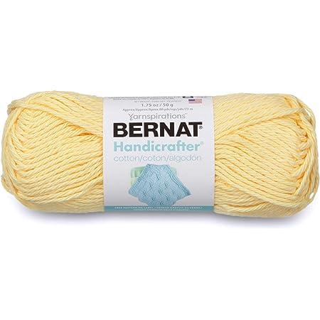 Bernat Handicrafter Cotton Solids Yarn, 1.75 oz, Gauge 4 Medium, 100% Cotton, Pale Yellow