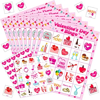 Blulu Valentine's Day Games Bingo Cards for Kids Class Party Supplies Activity, 24 Players (Style 2)