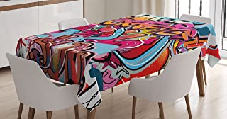 Ambesonne Graphic Tablecloth, Hip Hop Street Culture Harlem New York City Wall Graffiti Art Spray Artwork Image, Dining Room Kitchen Rectangular Table Cover, 60