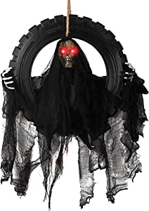 ITART Animated Halloween Wreath Decoration Prop for Front Door Talking and Moving Black Grim Reaper Haunted House Decor