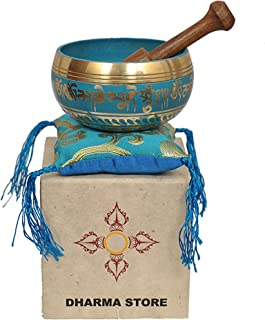 Tibetan Singing Bowl Set By Dharma Store - with Traditional Design Lokta Paper Box - Made in Nepal