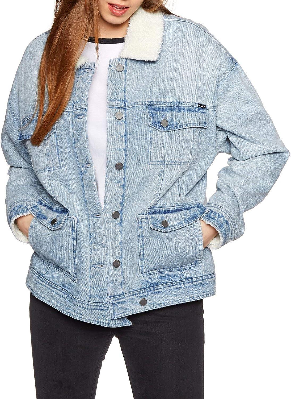 Volcom Junior's Women's Oversized Woodstone Denim Jacket, Light Blue, Large