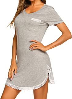 Ekouaer Nightgown Womens Sexy Sleep Shirt Dress V Neck Short Sleeve Lace Trim Soft Night Shirts (XS-3XL)