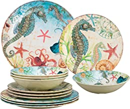 Gourmet Art 12-Piece Seahorse Heavyweight and Durable Melamine Dinnerware Set, Service for 4. Includes Dinner Plates, Sala...
