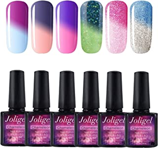 Joligel UV LED Esmalte Uñas Gel Kit 6pcs Esmaltes Semipermanentes Camaleón Cambio de Color con Temperatura Soak Off 10ML ...
