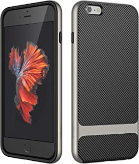 JETech Funda Compatible iPhone 6s Plus y iPhone 6 Plus, Carcasa con Shock- Absorción, Fibra de Carbono, Gris