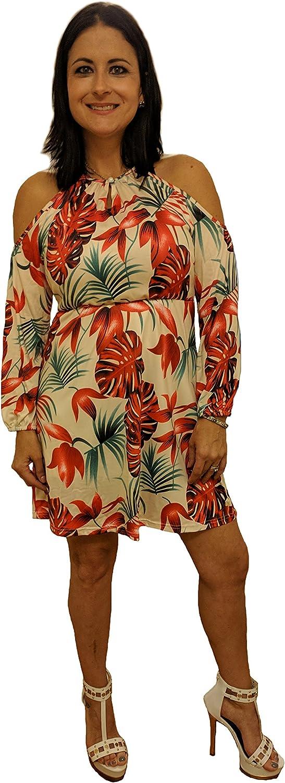 Charm Your Prince Women's Floral Cold Shoulder Dress