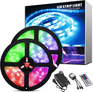 BlueFire Led Strip Lights 32.8ft Waterproof SMD 5050 150LEDs Light Strips Kit with 44 Keys Remote Controller, Flexible Col...