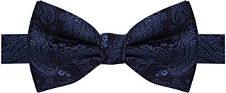 Gravata borboleta preta com desenhos em cashmere azul