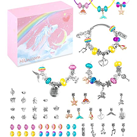 Colorful Jewelry Making Set with Silver Plated Charm HiUnicorn DIY Unicorn Bracelet Crafts Making Kit for Teen Girls 67 Bracelets Necklaces Rainbow Beads Supplies Kit Christmas Birthday School Day Gift