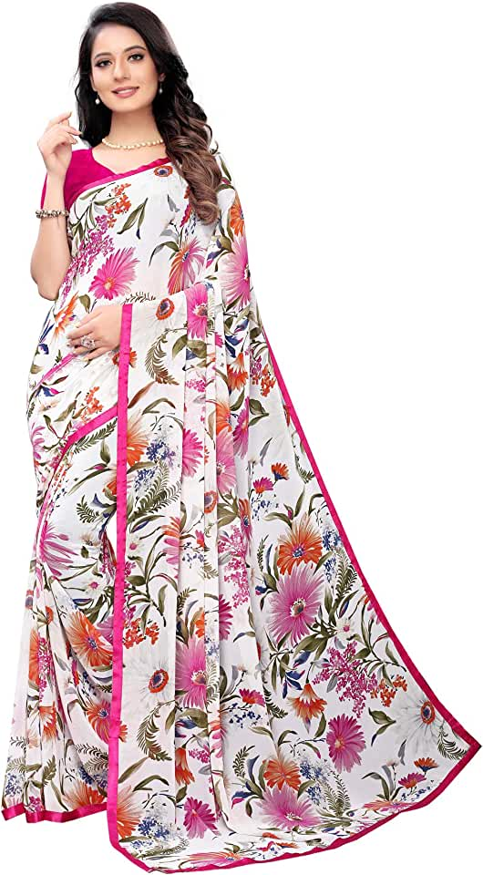 Indian SIRIL Women's Georgette Saree With Unstiched Blouse Piece Saree