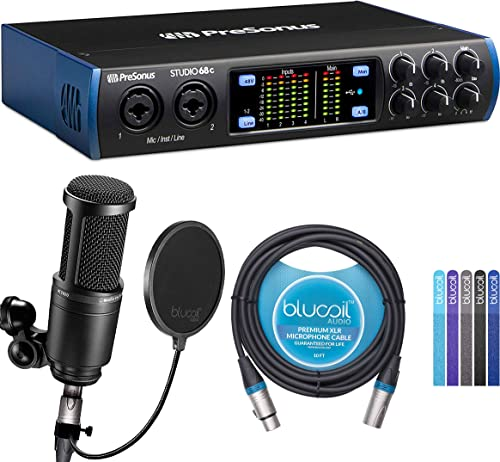 wholesale PreSonus Studio 24c USB Audio Interface for Windows and sale Mac Bundle with Audio Technica AT2020 Condenser Microphone, Blucoil 10-FT Balanced XLR Cable, Pop sale Filter, and 5-Pack of Reusable Cable Ties outlet online sale