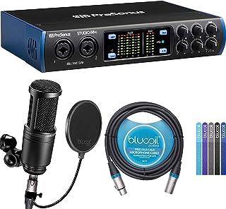 PreSonus Studio 24c USB-C Audio Interface Bundle with AT2020 Condenser Microphone, Blucoil 10-FT Balanced XLR Cable, Pop F...