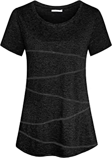 iClosam Women's Short Sleeve Yoga Tops Activewear Running Workout T-Shirt Tunic Blouse S-XXL