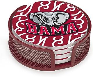 Thirstystone Stoneware Drink Coaster Set with Holder, University of Alabama Swirls