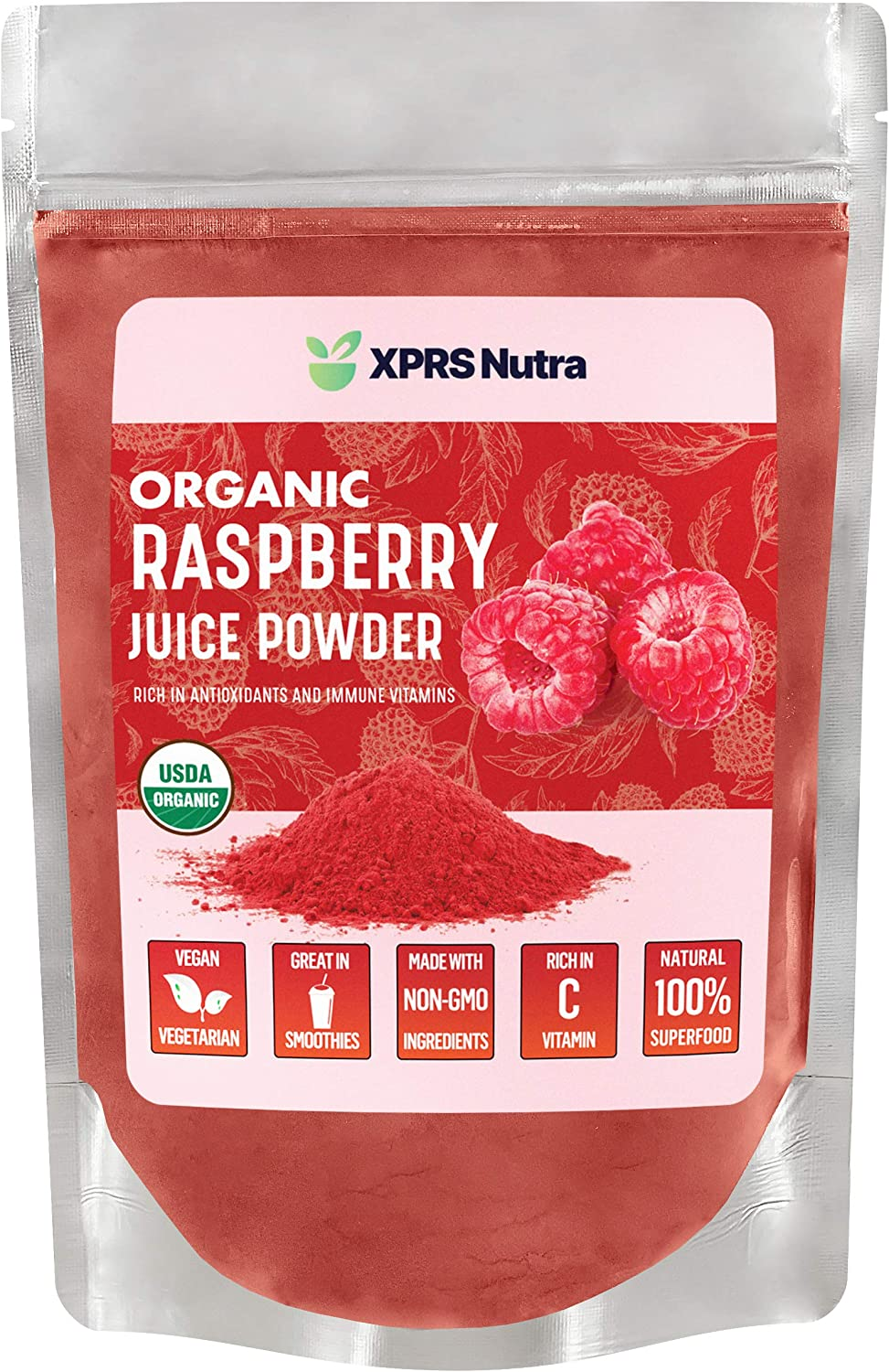 XPRS Nutra Organic Raspberry Juice Powder - Raspberry Powder Supplement - Raspberry Juice Powder Organic Fruit - Immune System Support with Vitamin C - Vegan Smoothie and Drink Supplement - (8 oz)