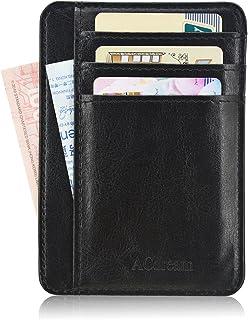 Front Pocket Wallet RFID Blocking, ACdream Slim Minimalist Wallets Leather Credit Card Holder Front Pocket Wallet With ID Card Window, Black