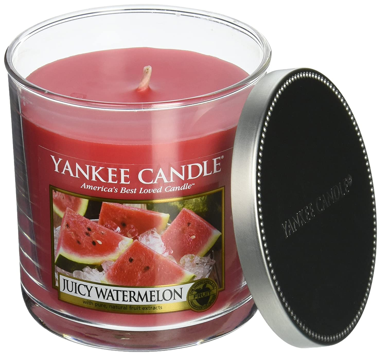 解明ジャグリングホイップYankee Candle Juicyメロン、フルーツ香り Small Single Wick Tumbler Candle レッド 1186165Z