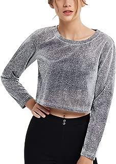 Perfashion Sexy Crop Top Women Metallic See Through Glitter Cropped Shirt Blouse