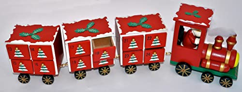 Wooden rot Christmas Advent Calendar Xmas Train Engine 3 Carriages Santa Driver by from Then to Now