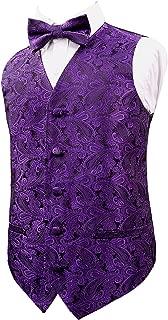 Alizeal Boys Classic Paisley Bow Tie and Suit Vest Set