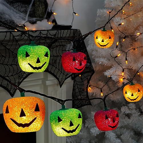 new arrival Twinkle Star sale Halloween Decorations String Lights, 10 FT 35-Count Lighted 7 Pcs Jack-o-Lantern, Decorative online sale EVA Pumpkins Orange, Purple & Green, Light Up Garden Yard Tree Indoor Outdoor Ornament online